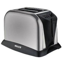 WELLCO WELK102 BRUSHED STAINLESS STEEL 2 SLICE TOASTER